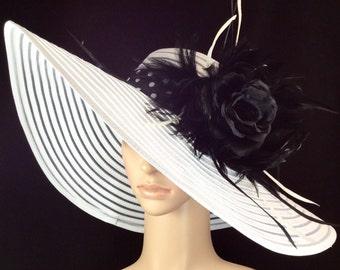 Black Rose Kentucky Derby Hat , Wide Brim White Dress Hat ,Formal Dress Hat Wedding Tea Party Ascot  Horse Race