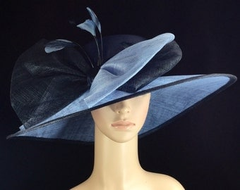 Navy Sinamay and Silk Wide Brim Kentucky Derby Hat, Church Hat, Bridal Wedding Hat, Dress Hat, Tea Party Hat