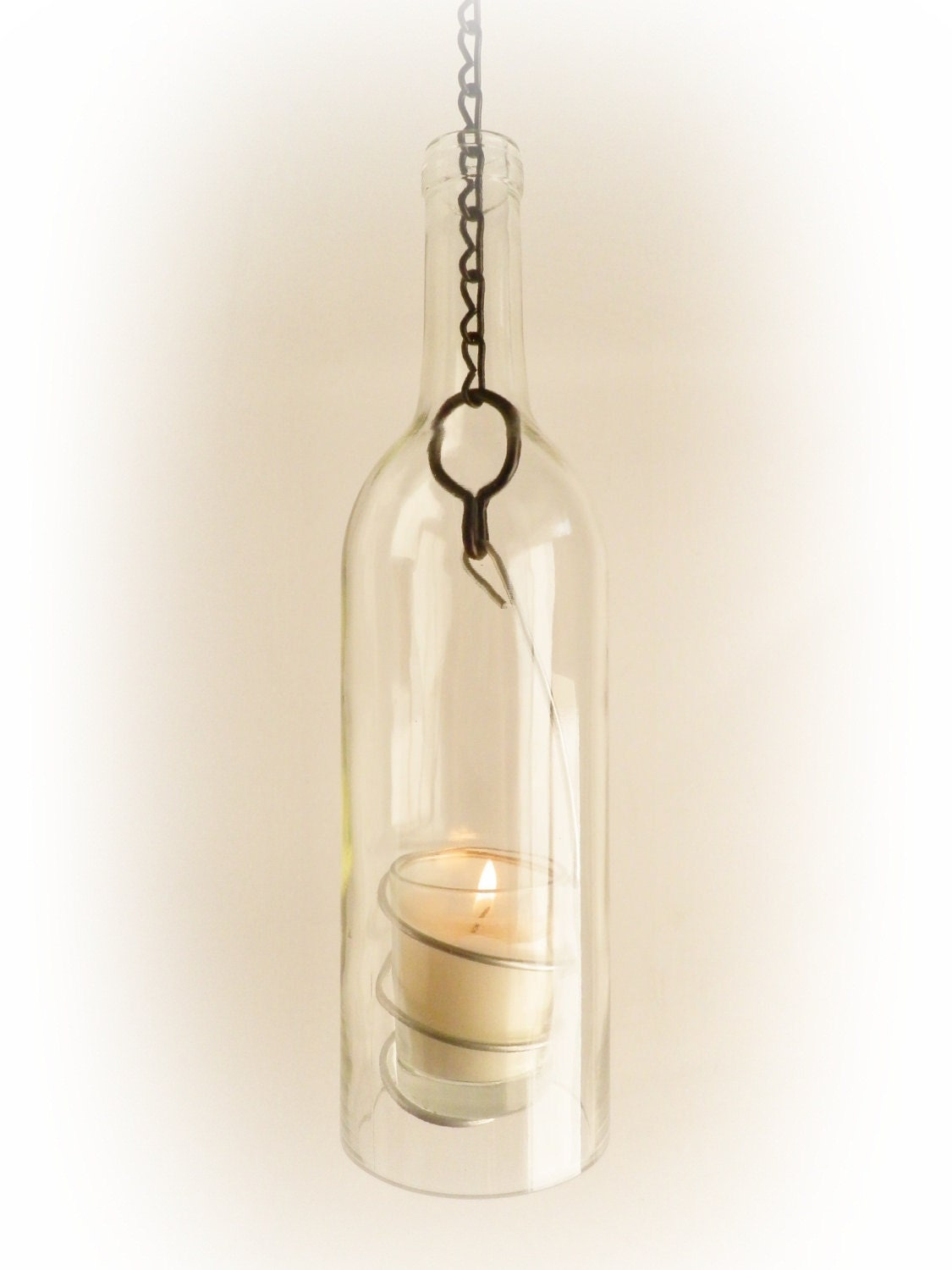Wine bottle candle holder hanging hurricane lantern for Champagne bottle candle holders