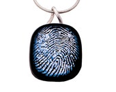Memorial jewelry - Personalized Custom Fingerprint Fused Glass Dichroic Pendant