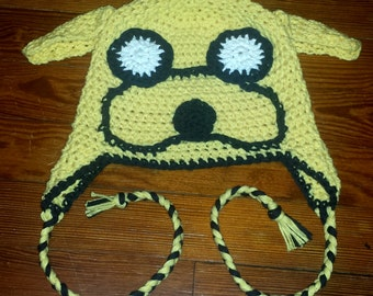 Adventure Time Jake beanie with earflaps and braided cord