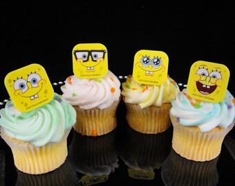Sponge Bob Cupcake Rings, Sponge Bob Party, Sponge Bob Favor, Party Favor, Cupcake Rings - Qty 12