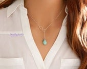 Lariat Birthstone Necklace, Bridesmaid Necklace, Infinity Necklace, Y Necklace, Sister Jewelry, Gift for Her, Wife Gift, Dainty Necklace