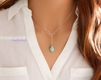 Bridesmaid Birthstone Necklace, Lariat Necklace, Birthstone Infinity Necklace, Y Necklace, Gift for Her, Wife Gift, Silver