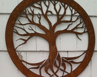 Rustic Tree of Life Recycled metal art 18 inch