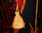 Hand Laced Deerskin Circle Drop Bag Drawstring shoulder Crossbody Purse Pouch