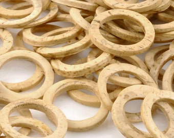 Natural-25mm Coconut Ring Beads-No Beading Hole-Tan Ring-Quantity 12