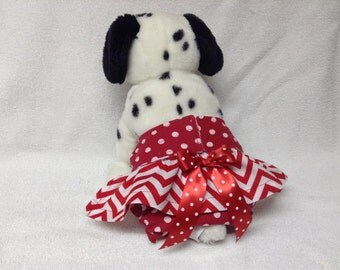 Female Doggie Diaper Dog Pet Wrap Bitches Britches Panties Skirt Size XXSmall To Medium  Red Chevron Polka Dots