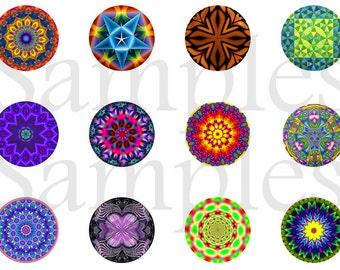 """Kaleidoscope Pins, Kaleidoscpe Magnets,  1"""" Flat Back Buttons, 12 ct"""