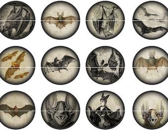 """Bat Pins, Bat Magnets, Bat Badges, Gothic Bats, Gothic Bat Magnets, Gothic Bat Pins, 1"""" Inch Hollow Backs, Flat Backs, Cabochons, 12 ct"""