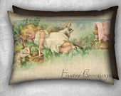 Easter Pillow Cover Sleeping Girl and Playful Bunny Rabbits Velveteen Decorative Pillow Cover 20x14 Lumbar Pillow Vintage Inspired Décor