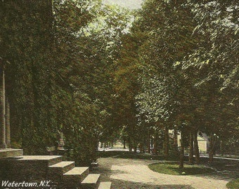 Sterling Street from Sterling Place WATERTOWN New York Vintage Postcard 1910 RMS RPO Cancel