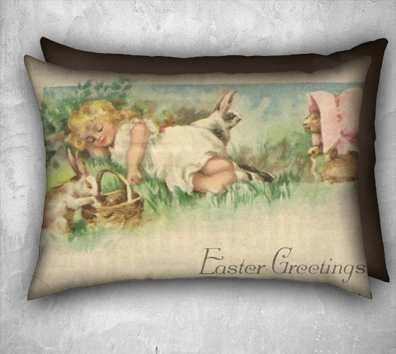 Canadian Inspired Home Decor Canada Pillow Via Etsy: Easter Pillow Cover Sleeping Girl And Playful Bunny Rabbits