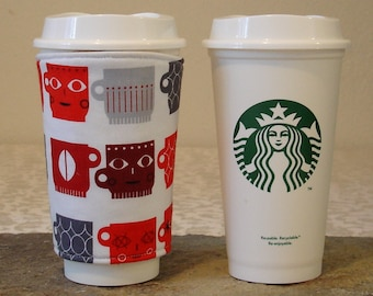Arti REVERSIBLE Coffee Cup Sleeve, for STARBUCKS cups  Crazy Mugs Print with  Pocket