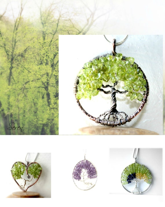 Peridot Tree Of Life Necklace, Birthstone Jewelry, Family Tree Jewelry, Gift for her, Tree Of Life Pendant, Spring Tree, Spring Jewelry, Leo