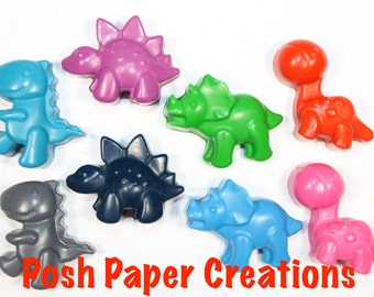 20 set of 4 Dino crayons - assorted colors - in cello bag with ribbon