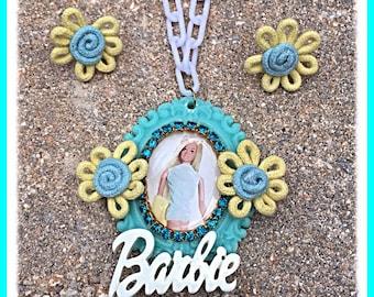 Retro Malibu Barbie Cameo Necklace and Earring Set