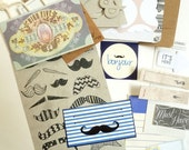 Moustaches! - JUNK JOURNAL 'bits' pack - colour-coordinated ephemera, pages and more to create your own unique mini scrapbook or journal