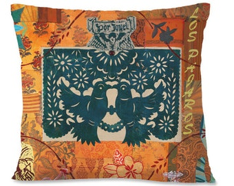 Mexican Decorative Pillow Cover - LOVE BIRDS - Southwest Decor - Romance - Wedding - Orange - Collage - European Linen backing