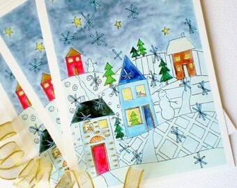 Holiday Postcards, Christmas Card, Mail Able Art- Set of 5