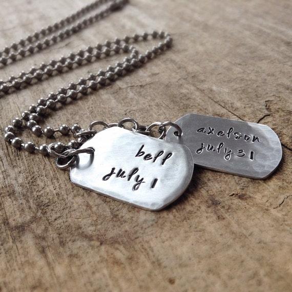 men 39 s double dog tag necklace personalized dog by tesorodelsol. Black Bedroom Furniture Sets. Home Design Ideas