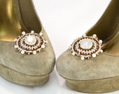 Light Brown Moonstone Shoe Clips