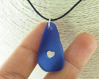 sea Glass Engraved Heart Jewelry / Beach Glass Cobalt Blue Pendent / Seaglass Charms with Carved HEART Special Romantic Small Gift