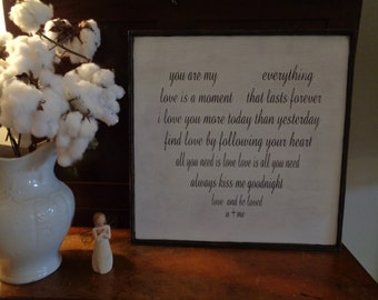 You are my everything sign, love is a moment that lasts forever, heart sign, love sign, shabby chic sign