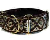 Burgundy, Gold, and Silver Diamonds Jacquard Martingale Collar - 2 Inch