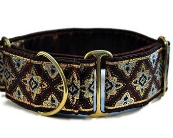 Martingale Collar or Buckle Dog Collar - Fair Verona Jacquard in Burgundy - 2 Inch, Greyhound Collar, Great Dane Collar, Custom Dog Collar