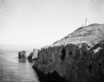 """Black And White Nautical Photography, Anacapa Island , Lighthouse Photograph, Ocean Landscape,  """"Anacapa Lighthouse"""""""