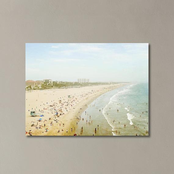 "Santa Monica Canvas Wall Art, California Decor, Coastal Living, Large Canvas Art , Beach Gallery Wrap, Extra Large Art ""Summertime Memories"""
