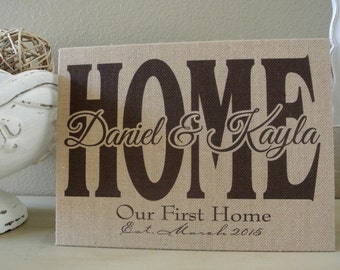 Home burlap personalized custom art wall hanging sign - great new home gift, hallway sign, housewarming