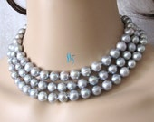Pearl Necklace-49 Inches 9-11mm Silver Gray Freshwater Pearl Strands Necklace Off Round Cultured- Free shipping