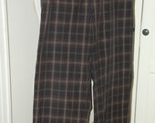 80s 90s Dries Van Noten Pants, High Waist, Tapered, Trousers, Cotton, Plaid, Olive, Brown, Size M