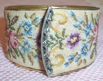 ANTIQUE Brass Petit Point Pink ROSES in Urn Cuff Bracelet with Marcasite...SALE
