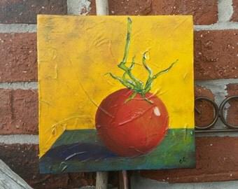 Vine ripened tomato, original acrylic painting on 8x8 canvas.