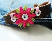 Flower Leather Bracelet Teen Girl Jewelry Tween Women - by Absolute Jewelry