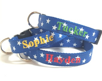 Embroidered Dog Collar- Personalized with name and phone- Blue Stars Dog Collar