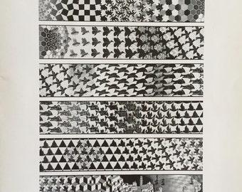 MC Escher Metamorphesis III 1967-68 An Original Book Page Illustration from Vintage 1983 Art Book