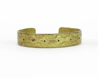 Vintage Etched Brass Bracelet | Handmade LIAM Signed Cuff