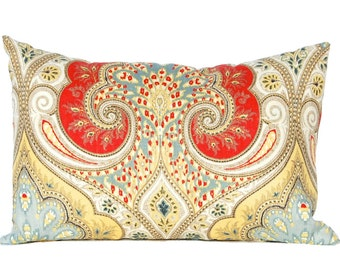 Throw Pillow Cover, Latika Pillow Cover, Designer Linen Fabric Latika Red Blue Yellow Pillows Same Fabric Front and Back