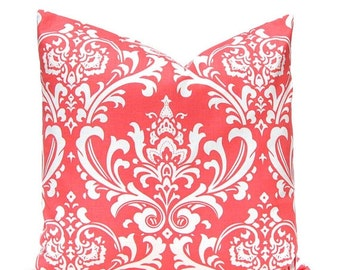 Pillow, Coral Pillow, Decorative Throw Pillow, Accent Pillows One 20 x 20 Inches Damask Pillow Covers Coral on White Beach Decor
