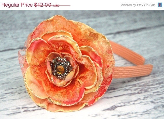 ON SALE Tangerine Orange Flower Headband with Rhinestones, Bling for Toddlers and Girls