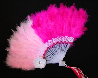 Girls Feather Fan - Two-Toned Pink Feather Fan - Child's Fan - Tea Party Accessory - Pink and Hot Pink Fan - FF19