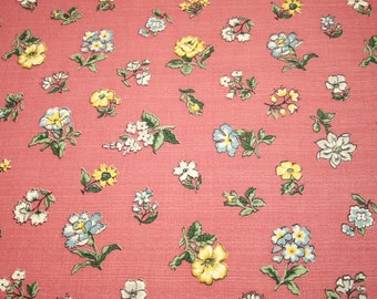 38 x 18 Inches - Sweet Small Flowers Rosy Pink Unused Vintage Mid Century Barkcloth Fabric Piece