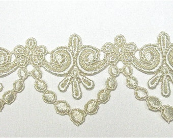 1 yd Venice Lace Trim STUNNING with Swag Drop Venise Crazy Quilting