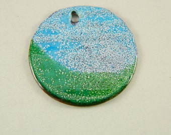 Aqua and Green Large Torch Enameled Pendant