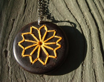 Yellow Embroidered Wood Necklace with Geometric Floral Design