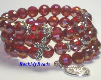 Red Crystal Memory Wire Rosary Bracelet,rosary,religious bracelet,praying beads,wrap rosary,rosary beads,prayer beads,wrap bracelet